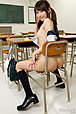 Teen Japanese girl Mana Aoki stripping kogal uniform in class