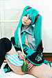 Miku Oguri in cosplay outfit flashing panties and shaved pussy