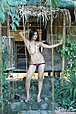 Long haired bauty Keira Lee stripping bra and panties outdoors