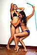 Keira Lee and Julie play with water hose stripping bikinis