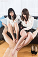 Busty office ladies Kisaki Aya and Yokoyama Natsuki give footjob