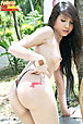 Pretty long haired painter Felicia strips dungarees outdoors