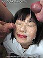 Pretty kogal Misaki has her face covered in bukkake facials